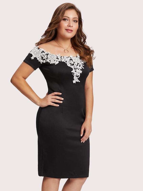 Plus Size Off Shoulder Lace Applique Trim Dress