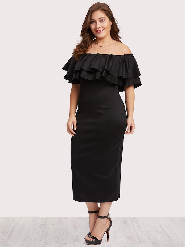 Plus Size Off Shoulder Tiered Dress
