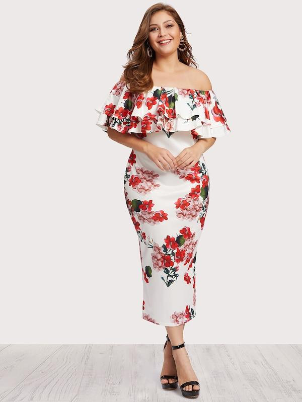 Plus Size Off Shoulder Floral Print Tiered Dress
