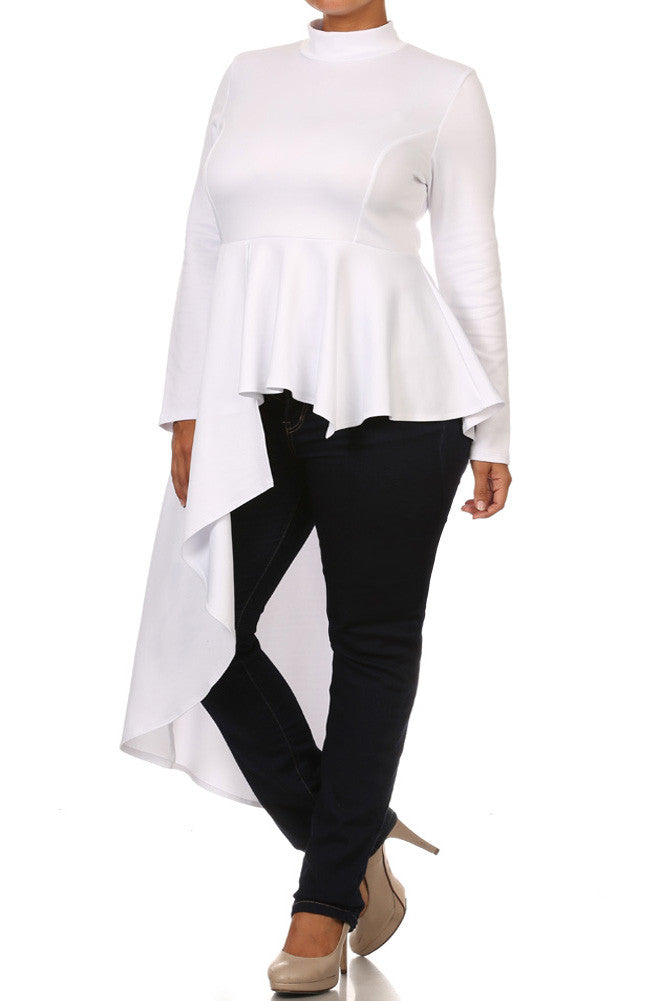 Plus Size Peplum Asymmetrical Dip Hem White Top