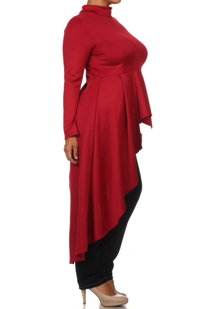 Plus Size Peplum Asymmetrical Dip Hem Red Top
