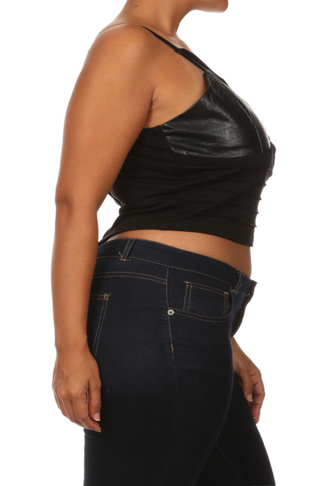 Plus Size Wild Heart Snake Print Leather Crop Top