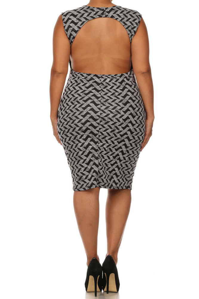 Plus Size Sexy Chevron Print Open Back Dress