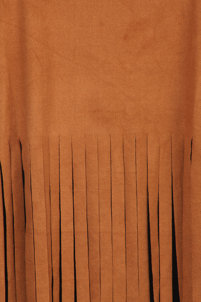 Plus Size Fringe Obsession Suede Brown Tank