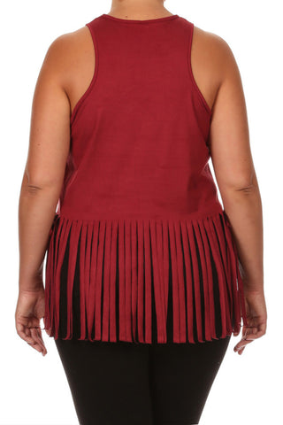 Plus Size Fringe Obsession Suede Burgundy Tank