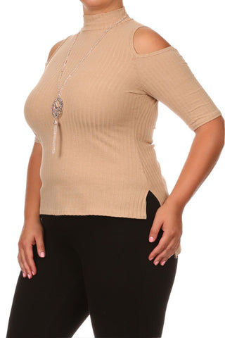 Plus Size Tasseled Necklace Ribbed Tan Tank