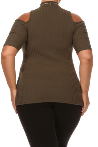 Plus Size Tasseled Necklace Ribbed Olive Tank