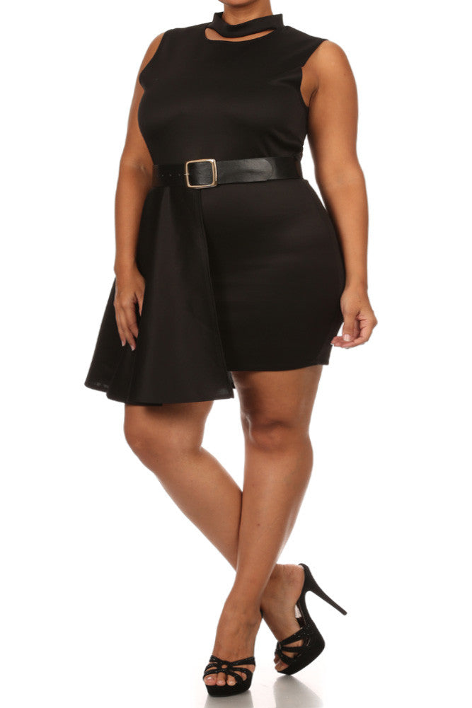 Plus Size Forever Young Cut Out Neckline Black Dress