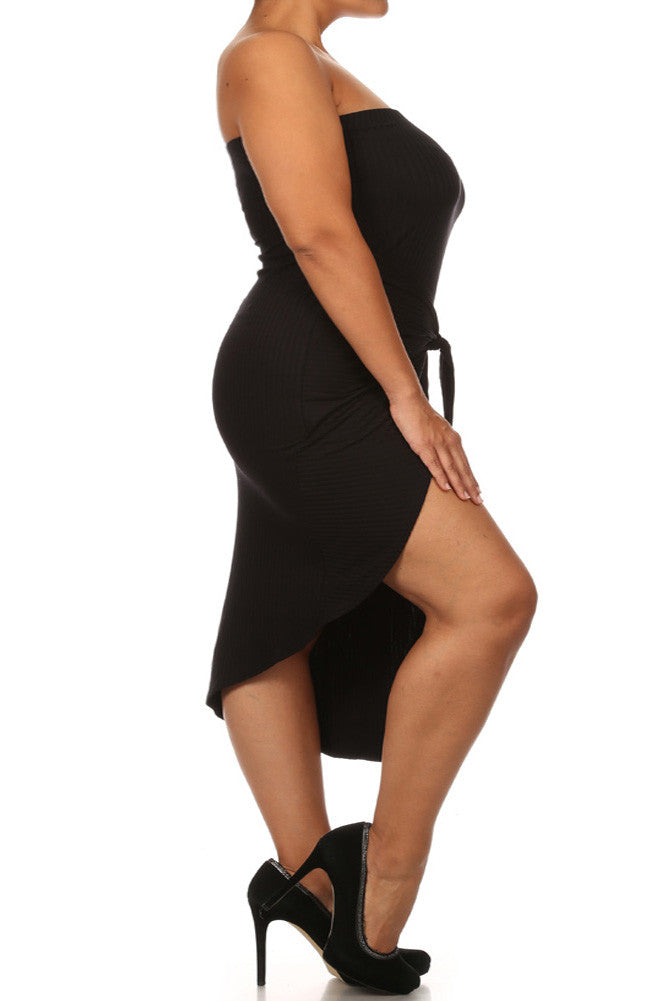 Plus Size Bow Knot Ribbed Midi Dress