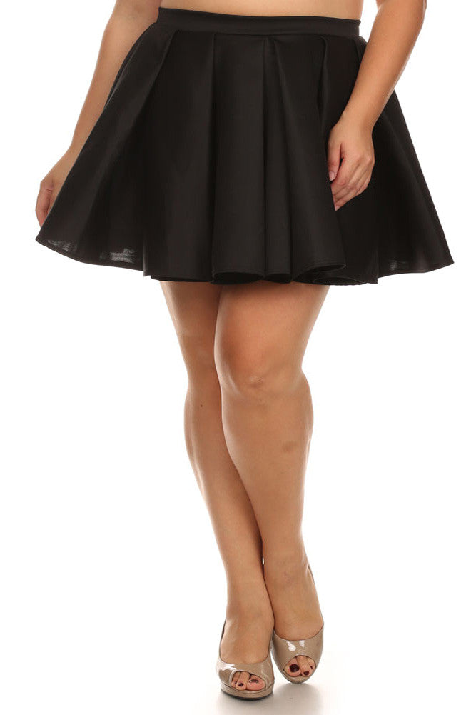 Plus Size Flirty Black Skater Skirt