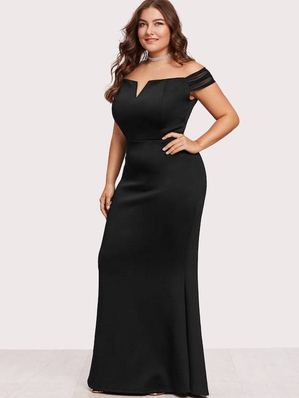 Plus Size Off Shoulder Zip Back Maxi Dress