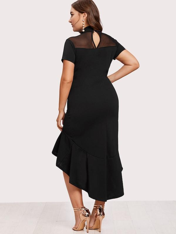 Plus Size Mesh Insert Frill Dip Hem Dress