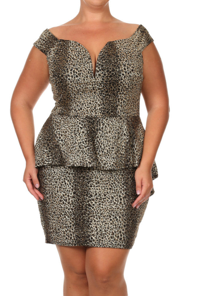 Plus Size Fierce Glitter Plunging Neckline Dress