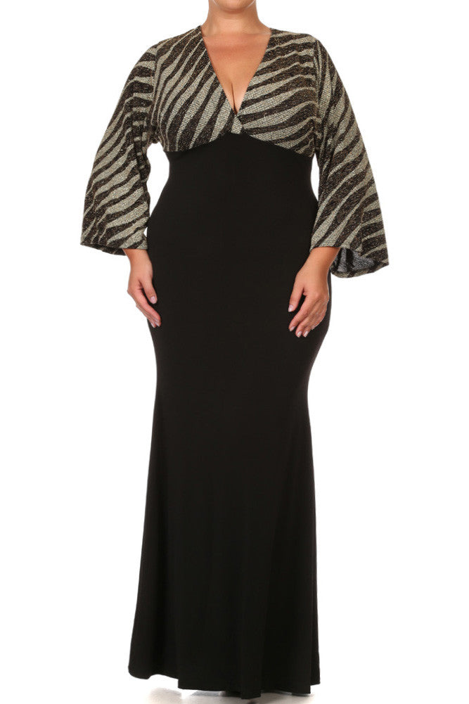 Plus Size Bell Sleeves Empire Waist Glitter Maxi Dress