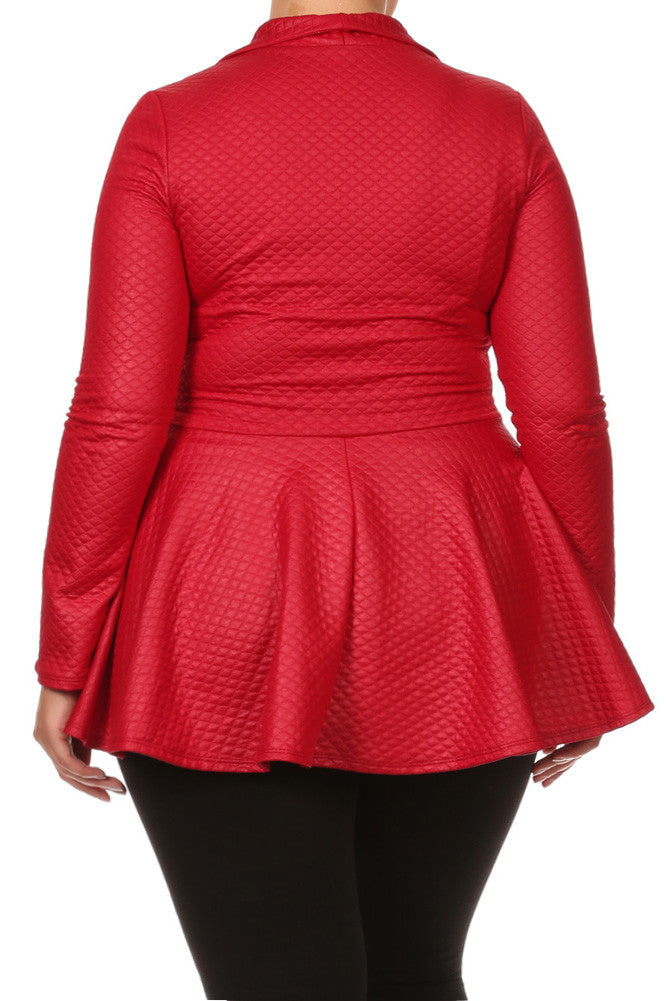 Plus Size Sexy Diamond Print Peplum Leather Top