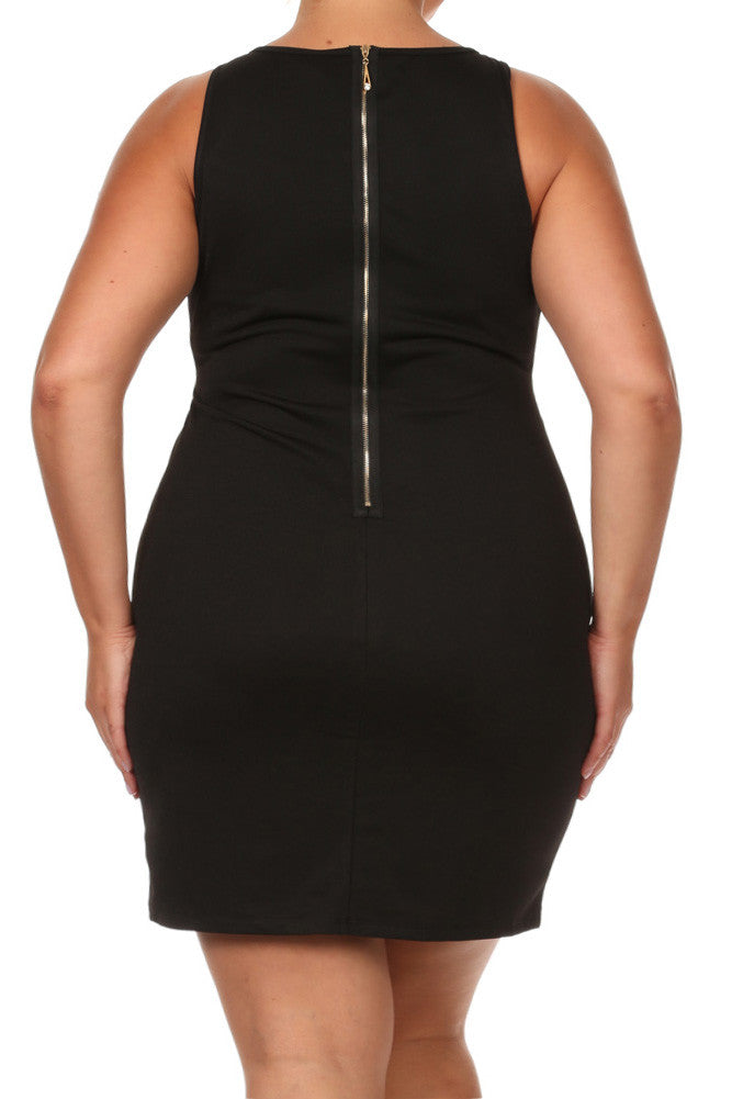 Plus Size Strappy Diamond Neckline Dress