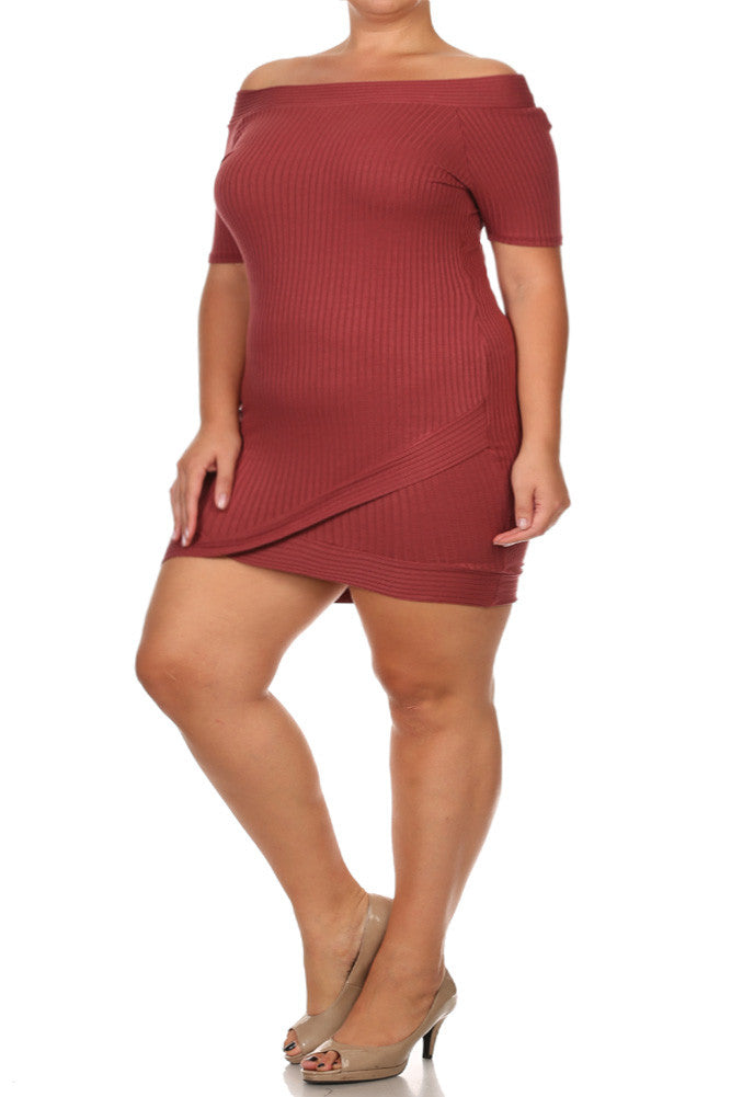 Plus Size Wide Collar Wrap Skirt Ribbed Dress