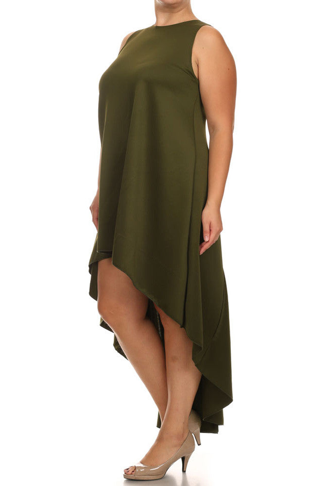 Plus Size Dip Hem Chic Olive Maxi Shirt Dress