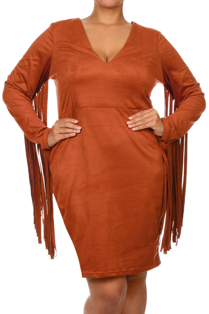 Plus Size All The Right Moves Fringe Sleeves Suede Dress
