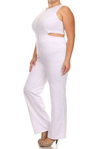 Plus Size City Gal Front Zipper White Jumpsuit