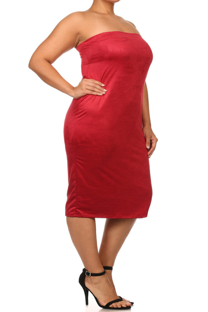Plus Size Suede All My Curves Strapless Midi Dress