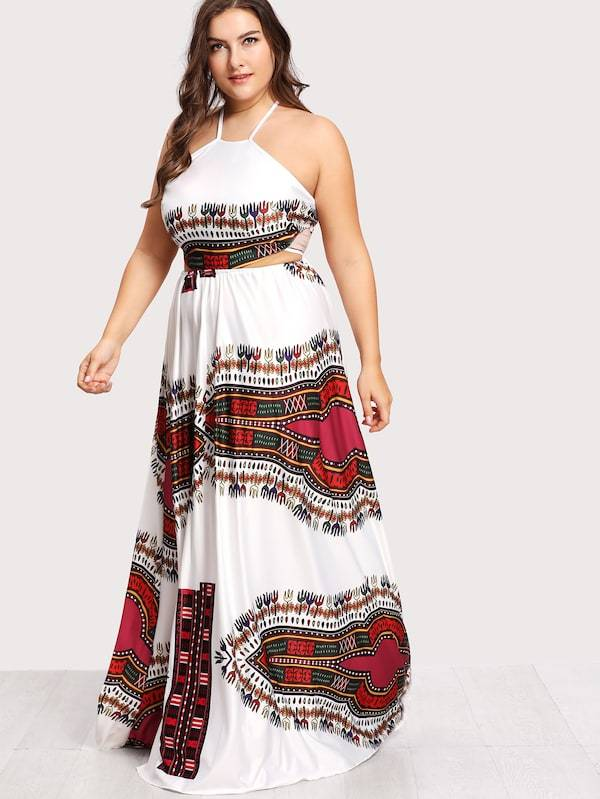 Plus Size Ornate Print Lace Up Backless Dress