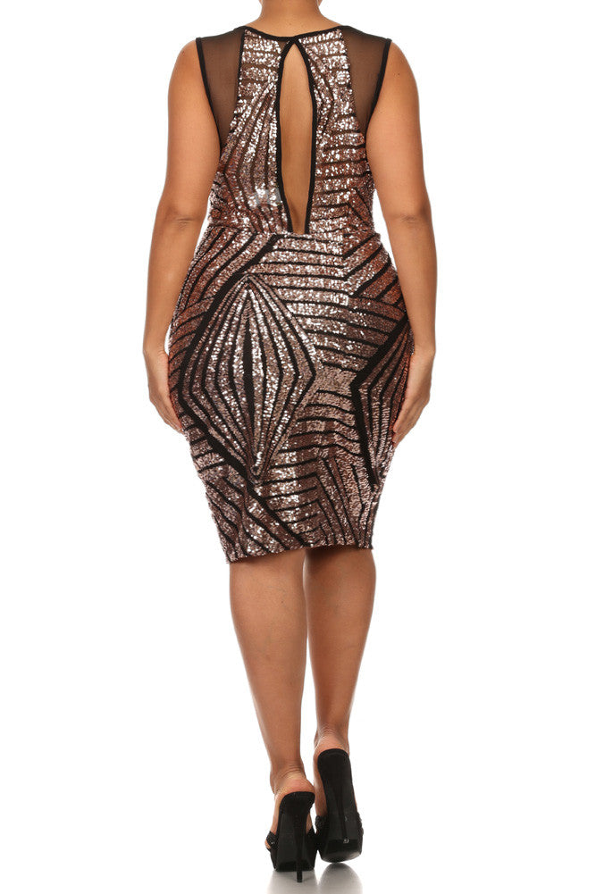Plus Size Sequin Bombshell Mesh Dress