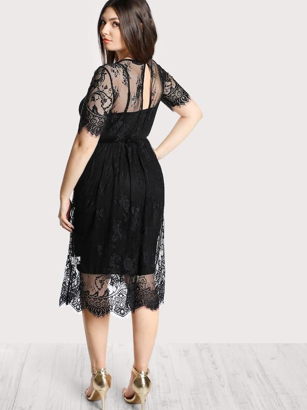 Plus Size High Waist Floral Lace Cover Up Dress Without Cami
