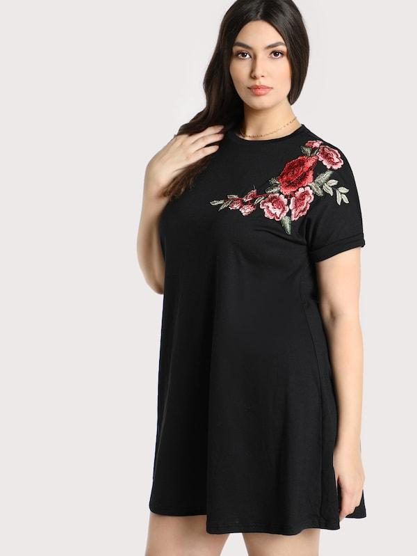 Plus Size Embroidered Rose Patch Tee Dress