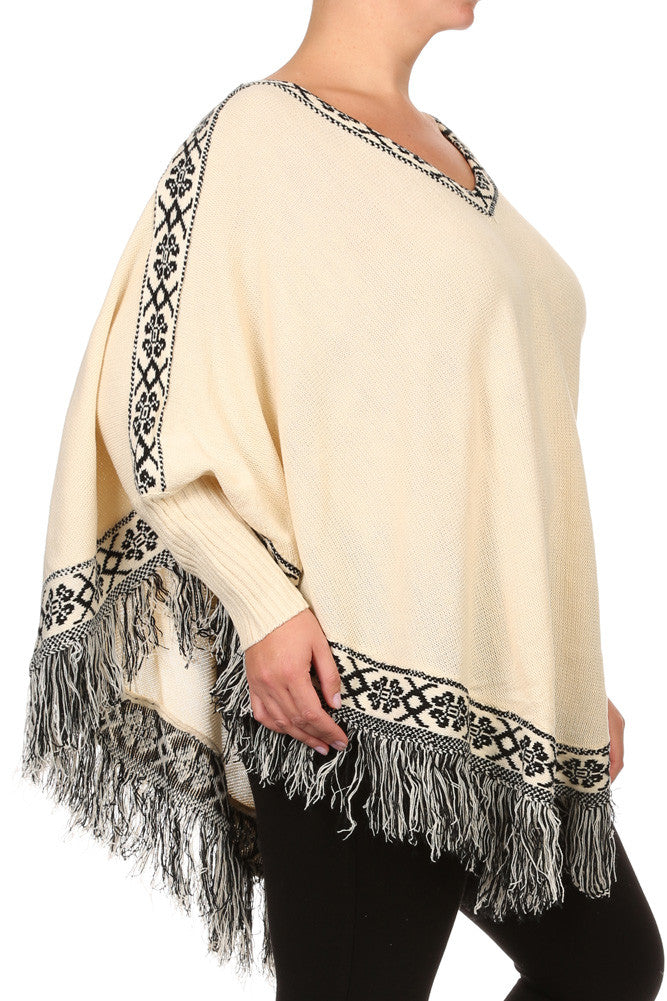 Plus Size Cozy Tribal Print Fringe Poncho