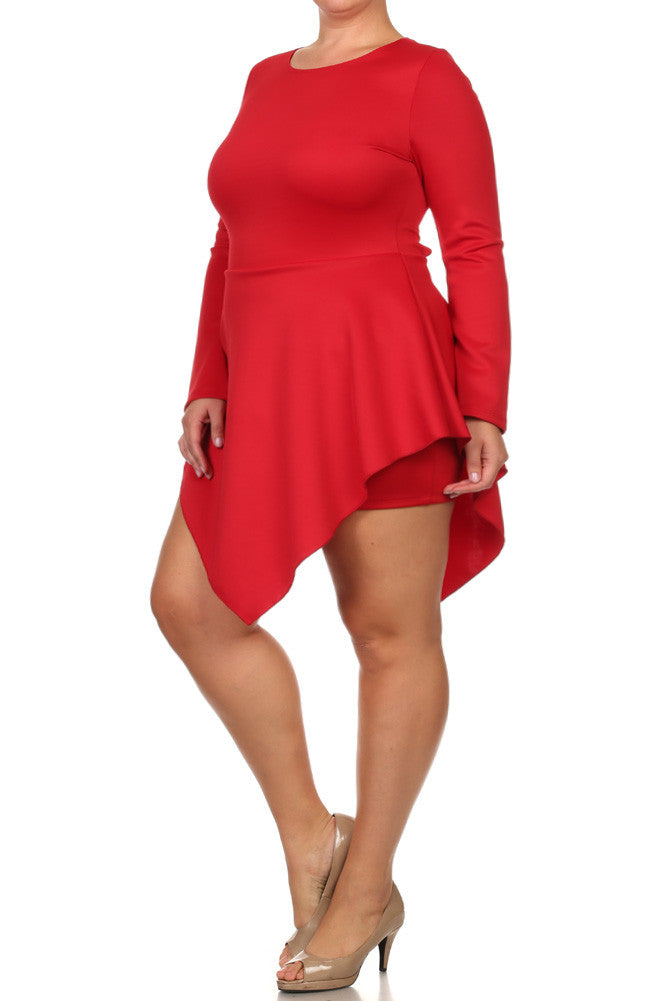 Plus Size Romper V Hem Long Sleeve Skater Dress