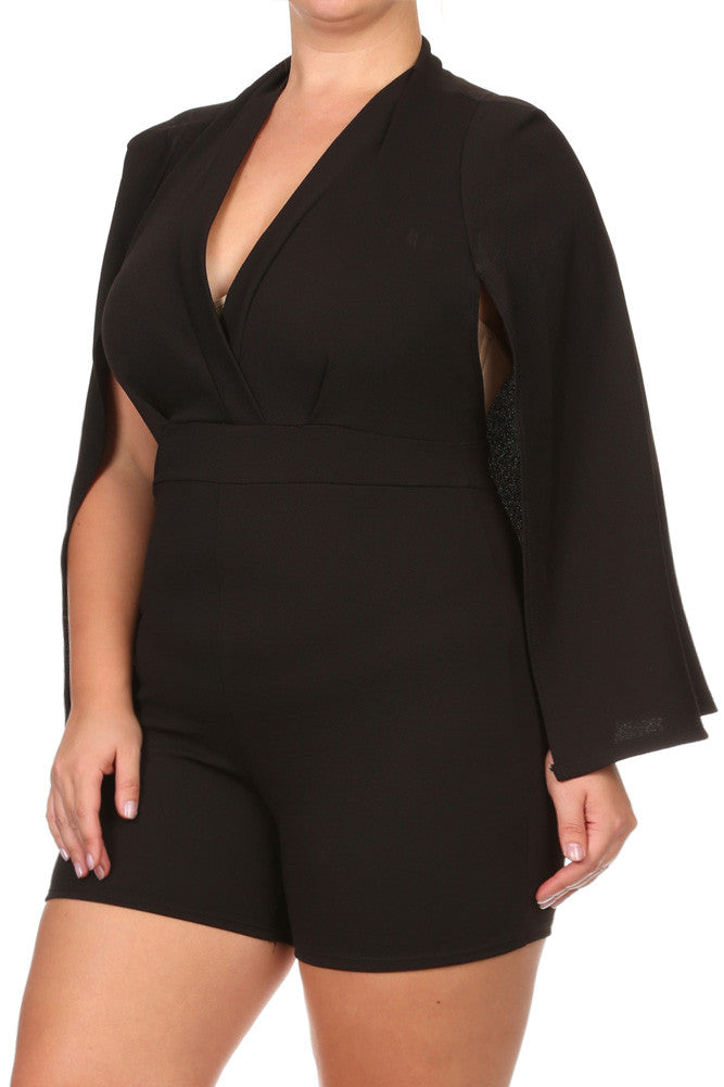 Plus Size Mod Surplice Cape Romper