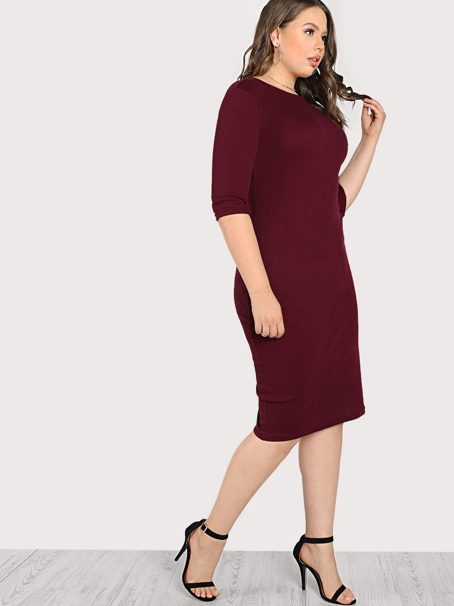 Plus Size Solid From Fitting Dress