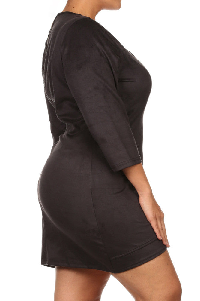 Plus Size Suede Allure Plunging Tunic Dress