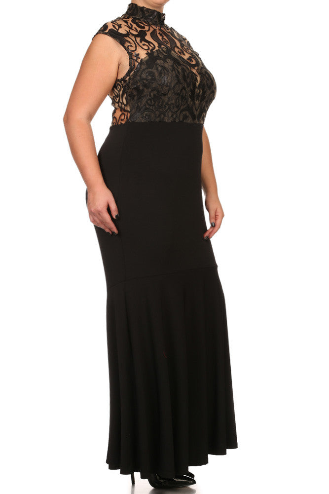 Plus Size Romantic Sequin Lace Fishtail Hem Maxi Dress
