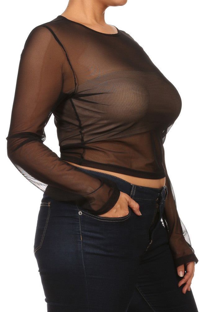 Plus Size Long Sleeve Mesh Babe Crop Top