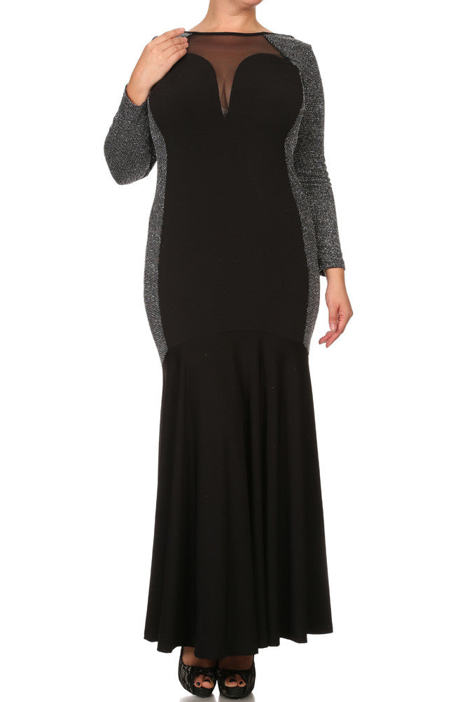 Plus Size Lustrous Glittered Sweetheart Maxi Dress