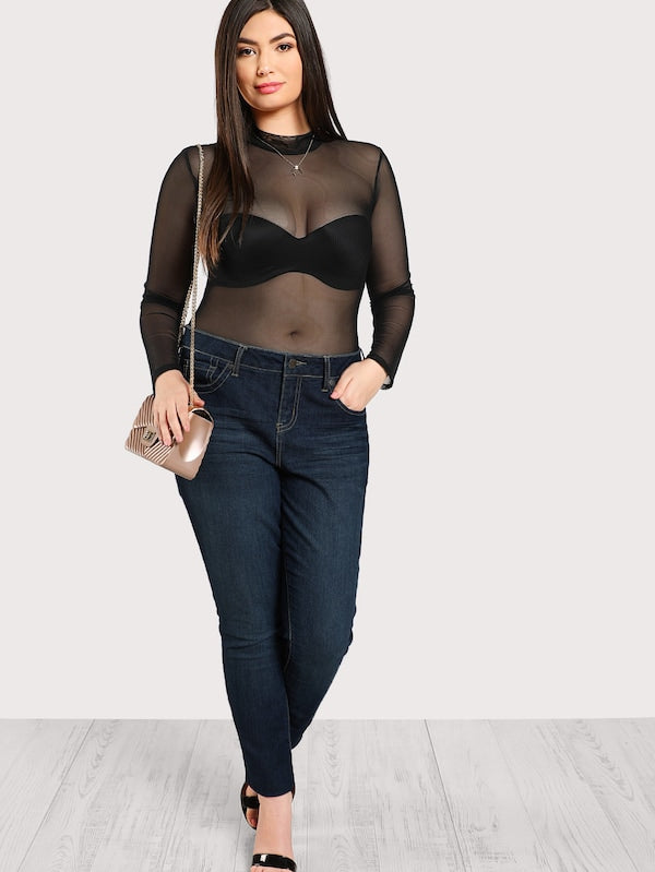Plus Size Mock Neck Mesh Bodysuit