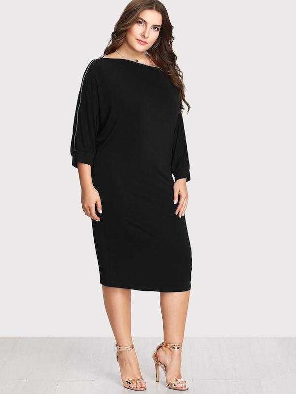 Plus Size Zip Sleeve Dress