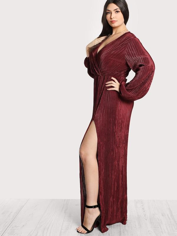 Plus Size Pleated Surplice Wrap Split Dress