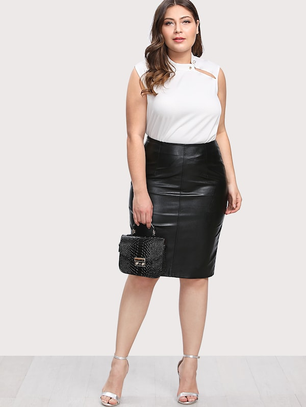 Plus Size Faux Leather Pencil Skirt