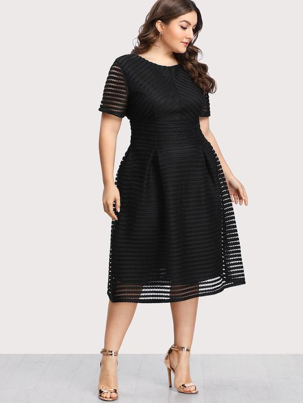 Plus Size Box Pleated Striped Mesh Dress