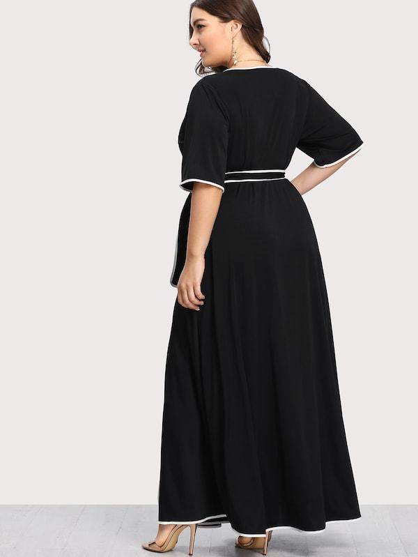 Plus Size Contrast Binding Self Belted Wrap Dress