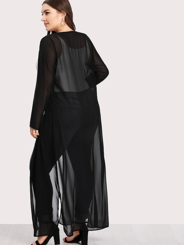 Plus Size Split Side Longline Sheer Kimono
