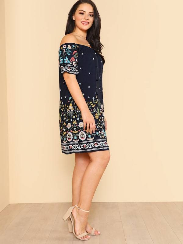 Plus Size Botanical Print Off Shoulder Dress