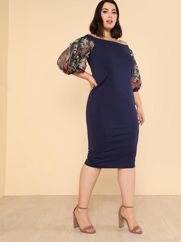 Plus Size Bardot Pencil Dress With Embroidered Mesh Sleeve