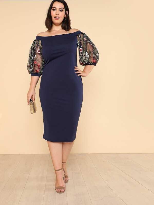 Plus Size Off Shoulder Pencil Dress With Embroidered Mesh Sleeve