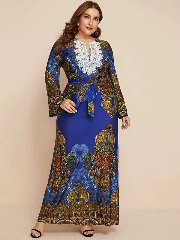 Plus Size Aztec Print Contrast Lace Belted Dress