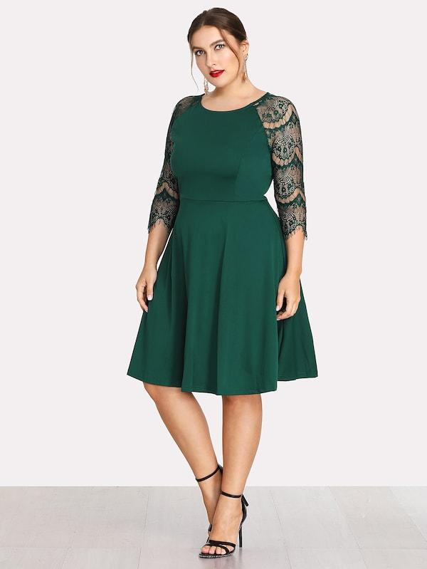 Plus Size Contrast Lace Sleeve Dress