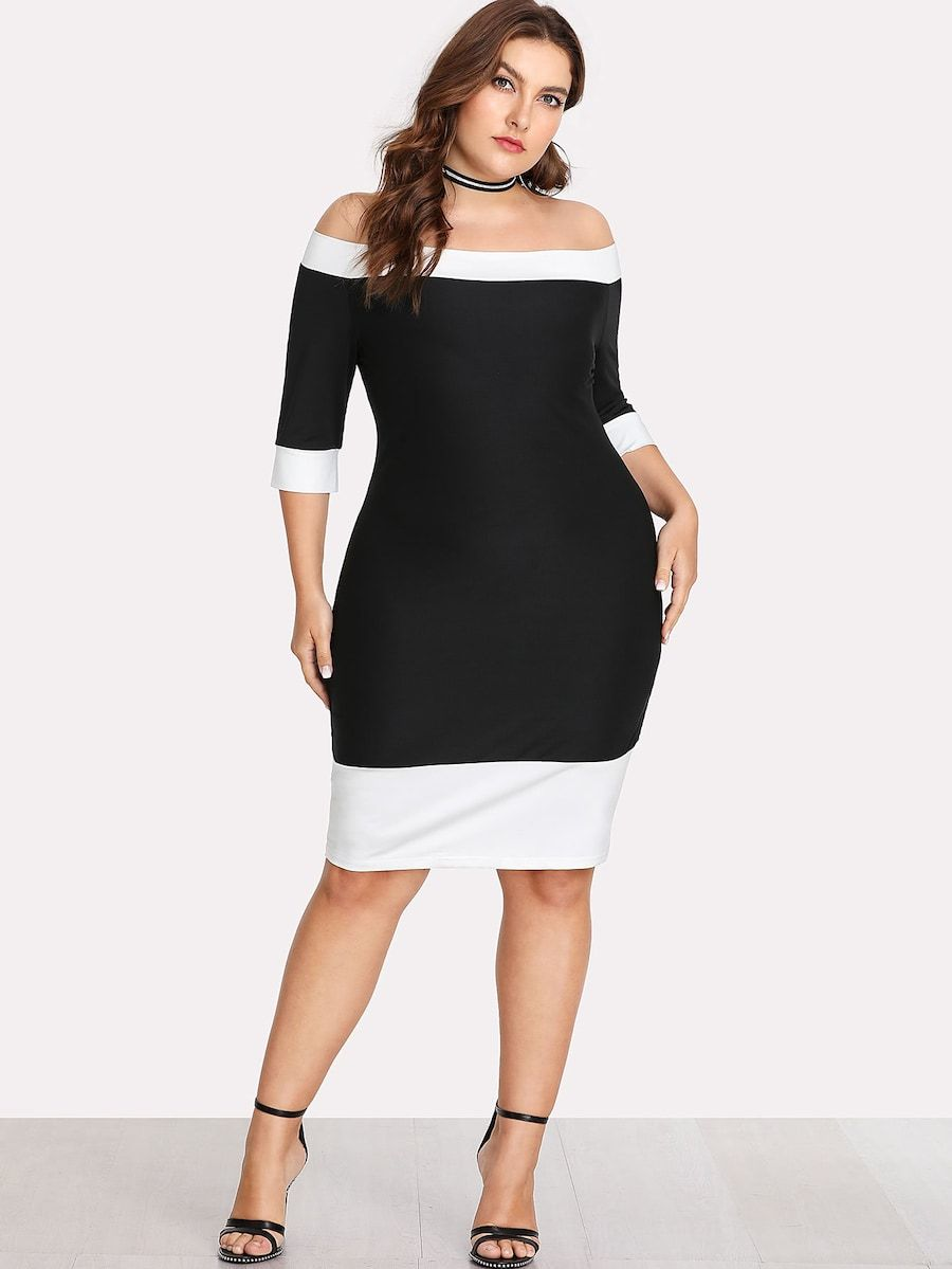 Plus Size Contrast Trim Bardot Dress